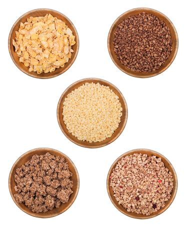 Bamboo wooden bowl with natural organic granola cereal with different breakfast cereal.Top view