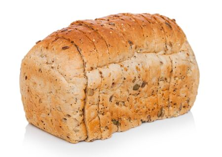 Fresh loaf of seeded bread on white. Traditional bakery heritage.