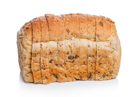 Fresh loaf of seeded bread on white. Traditional bakery heritage. Banque d'images - 132080845