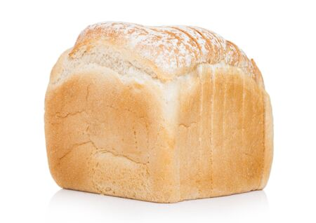 Fresh loaf of white bread on white. Traditional bakery heritage. Stok Fotoğraf