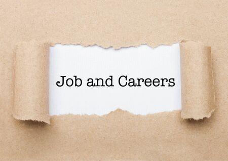 Job nad Careers concept text appearing behind torn brown paper envelope 版權商用圖片 - 132962104