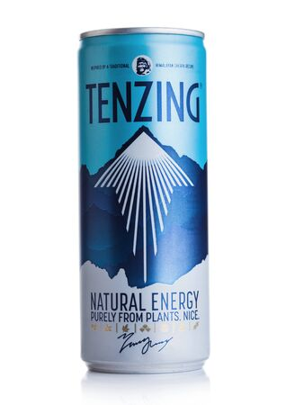 LONDON, UK - DECEMBER 20, 2019: Aluminium can of Tenzing Natural energy drink on white.