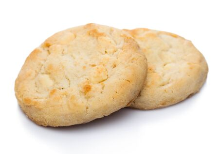 White chocolate biscuit cookies on white.