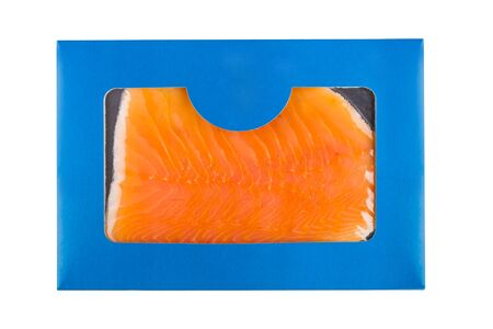 Blue carton pack of fresh salmon in slices on white.