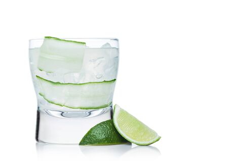 Gimlet cocktail in modern glass with ice cubes and straw, cucumber and lime slice on white background with limes on the side. Space for text