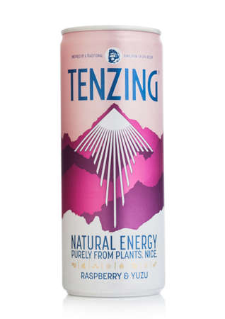 LONDON, UK - SEPTEMBER 09, 2020: Aluminum can of Tenzing natural energy drink with raspberry and yuzu on white background.