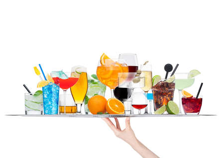 Hand holding tray with various cocktails isolated on white background.
