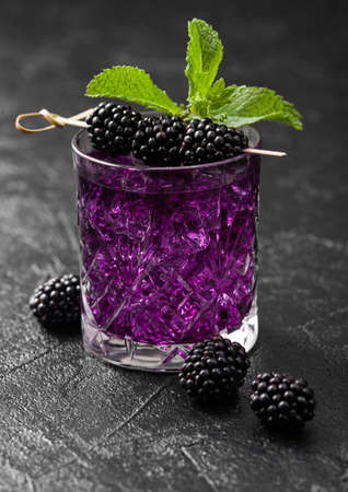 Glass of refreshing summer cocktail with blackberry, ice and mint on black background with raw berries. Soda and alcohol mix. Reklamní fotografie