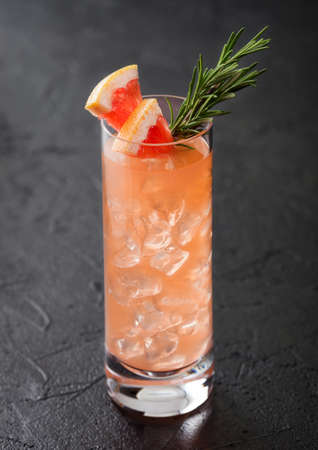 Highball glass of cocktail with red grapefruit and gin with vodka with ice cubes, fruit slice and rosemary on black background. Reklamní fotografie