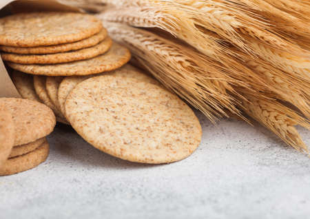 Round organic crispy wheat and corn flatbread crackers with raw wheat on light. Reklamní fotografie