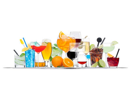 Tray with various cocktails with ice isolated on white background.lagoon, martini, negroni, mojito, gimlet, cuba libre, cosmopolitan, margarita. Фото со стока
