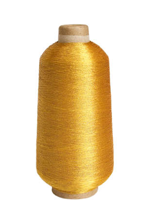 cotton thread: The big coil of brilliant gold threads on a white background Stock Photo