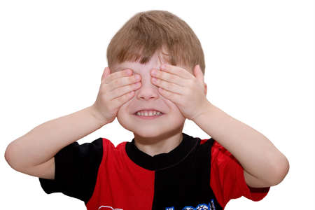 Hear no evil, see no evil and speak no evil, boy isolated on white background Stock Photo - 4730650