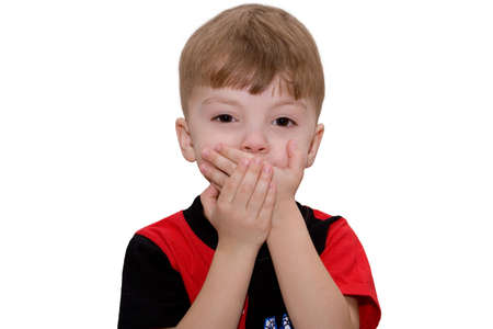 Hear no evil, see no evil and speak no evil, boy isolated on white background Stock Photo - 4730651