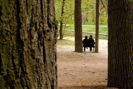 couple amoureux: Le couple d'amour assis sur un banc de parc au printemps