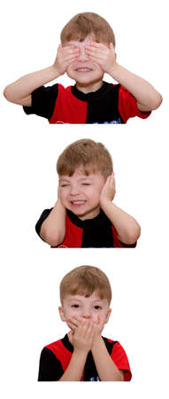 Hear no evil, see no evil and speak no evil, boy isolated on white background Stock Photo - 4758809