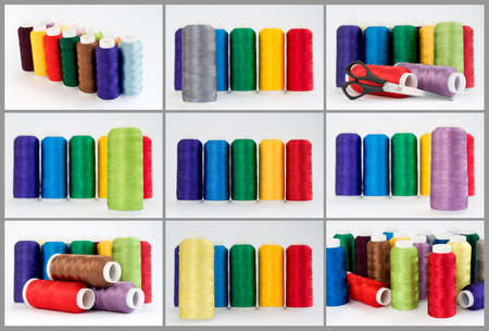 needlewoman: Hanks of multi-coloured threads for embroidery on a white background