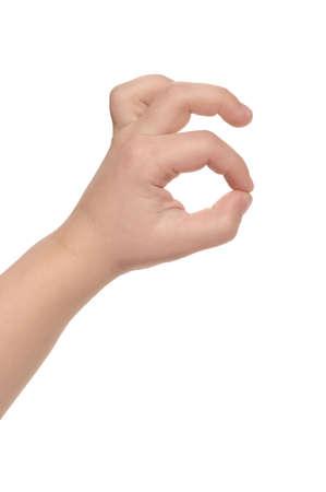 Child hand - OK, isolated on white background photo