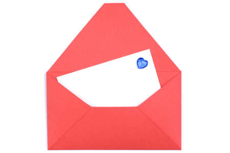 A white blank in a opened red envelope. Valentines day card. photo