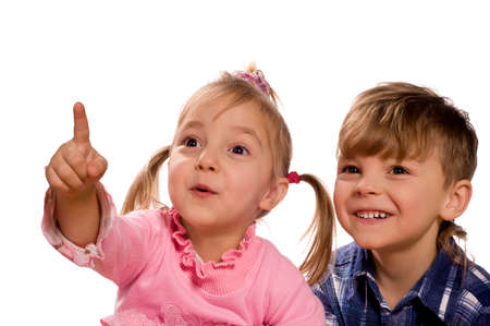 Funny little boy and girl. Good for borders of articles or websites. Beautiful caucasian model. Isolated on white background. Stock Photo - 6615498