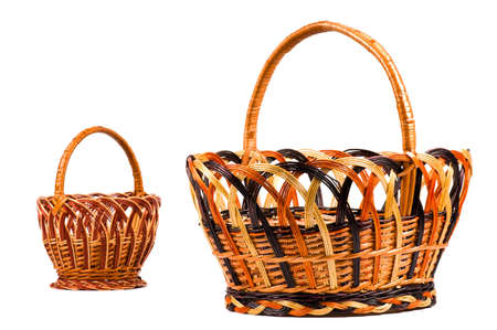 Traditional wicker baskets isolated on white background. Focus on the big basket. Stock Photo - 6805900
