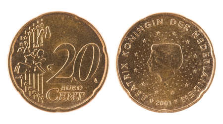 20 cents euro coin. Coin isolated on white - detailed closeup macro photo
