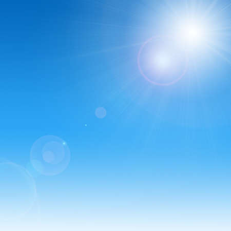 Image of sky: Sun on blue sky