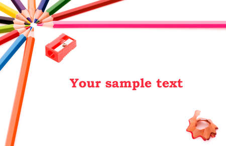 pencil sharpener: Frame made of colorful pencils, shallow depth of field with focus on the Your sample text Stock Photo