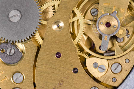 sprockets: Close-up mechanism of old watch. Photo macro Stock Photo