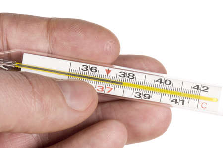 Hand with thermometer on white background  photo
