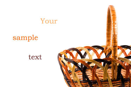 Traditional wicker basket isolated on white background.  Sample text Stock Photo - 7056767