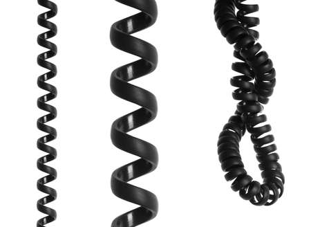 Black spiral telephone cable isolated on white background Stock Photo - 7095346