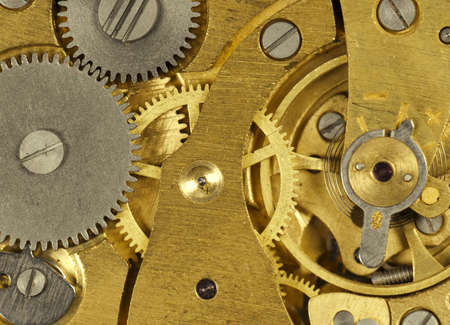 sprockets: Close-up mechanism of old watch Stock Photo