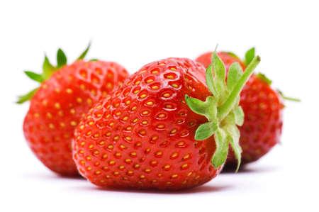 Rijpe aardbeien geïsoleerd op een witte achtergrond Stockfoto