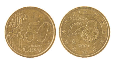 50 cents euro coin. Coin isolated on white - detailed closeup macro Stock Photo - 7349766