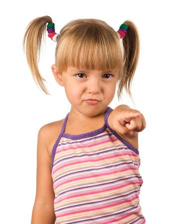Portrait of emotionally kid. Funny little girl isolated on white background. Beautiful caucasian model. Stock Photo - 7511910