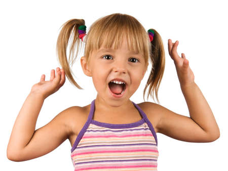 anger kid: Funny little girl. Good for borders of articles or websites. Beautiful caucasian model. Isolated on white background.