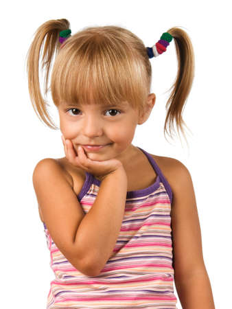 pigtail: Portrait of emotionally kid. Funny little girl isolated on white background. Beautiful caucasian model. Stock Photo
