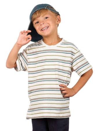 ni�o modelo: Retrato de ni�o emocionalmente. Divertido chico poco aislado sobre fondo blanco. Hermoso modelo cauc�sicos.  Foto de archivo