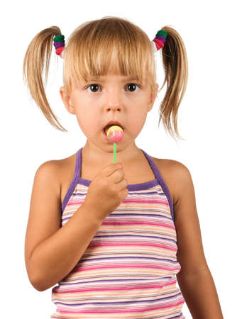 lolipop: Girl with lollipop. Beautiful caucasian model. Isolated on white background.