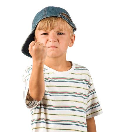 man crying: Portrait of emotionally kid. Funny little boy isolated on white background. Beautiful caucasian model. Stock Photo