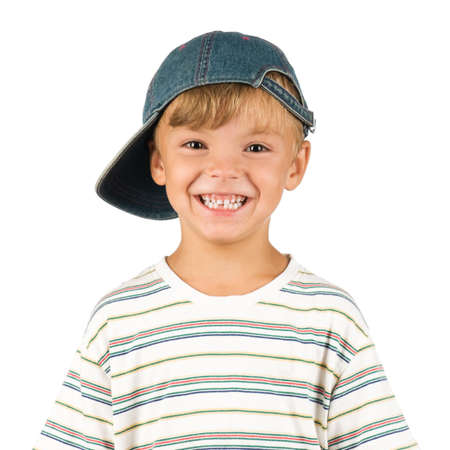 excitement: Portrait of emotionally kid. Funny little boy isolated on white background. Beautiful caucasian model. Stock Photo
