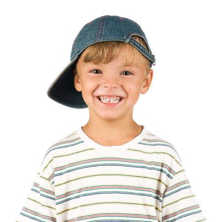 exitacion: Retrato de niño emocionalmente. Divertido chico poco aislado sobre fondo blanco. Hermoso modelo caucásicos.  Foto de archivo