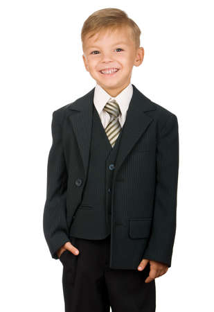 hair tie: Boy in suit isolated on white background. Beautiful caucasian model.