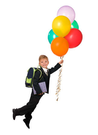 Boy with balloons and book - back to school photo