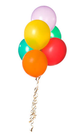 Bunch of colorful balloons isolated on white background photo
