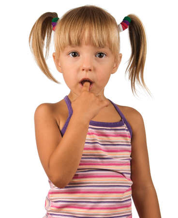 ponytail: Portrait of emotionally kid. Funny little girl isolated on white background. Beautiful caucasian model. Stock Photo