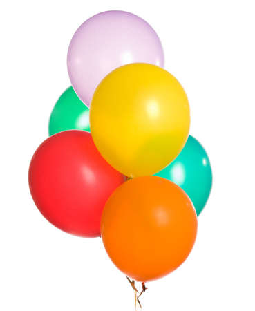 Bunch of colorful balloons isolated on white background Stock Photo