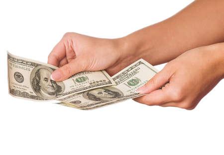 Hand holding money dollars isolated on white background Stock Photo - 8107993