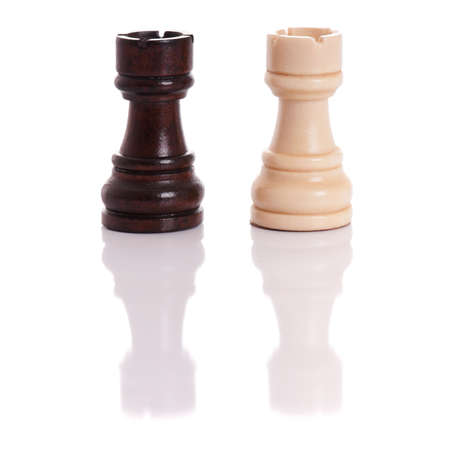 Black and white chess pieces isolated on a white background Stock Photo - 8211980